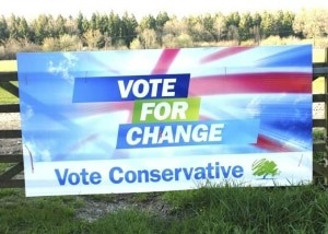 Printed Conservative election boards